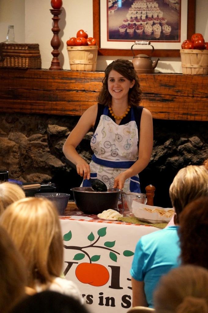 Rachel VanDuzer of Rachel's Farm Table teaching a bruschetta cooking class