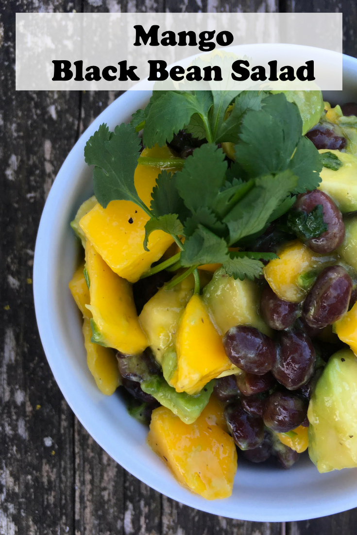 Simple, delicious Mango Black Bean Salad. Or use peaches instead of mangoes!