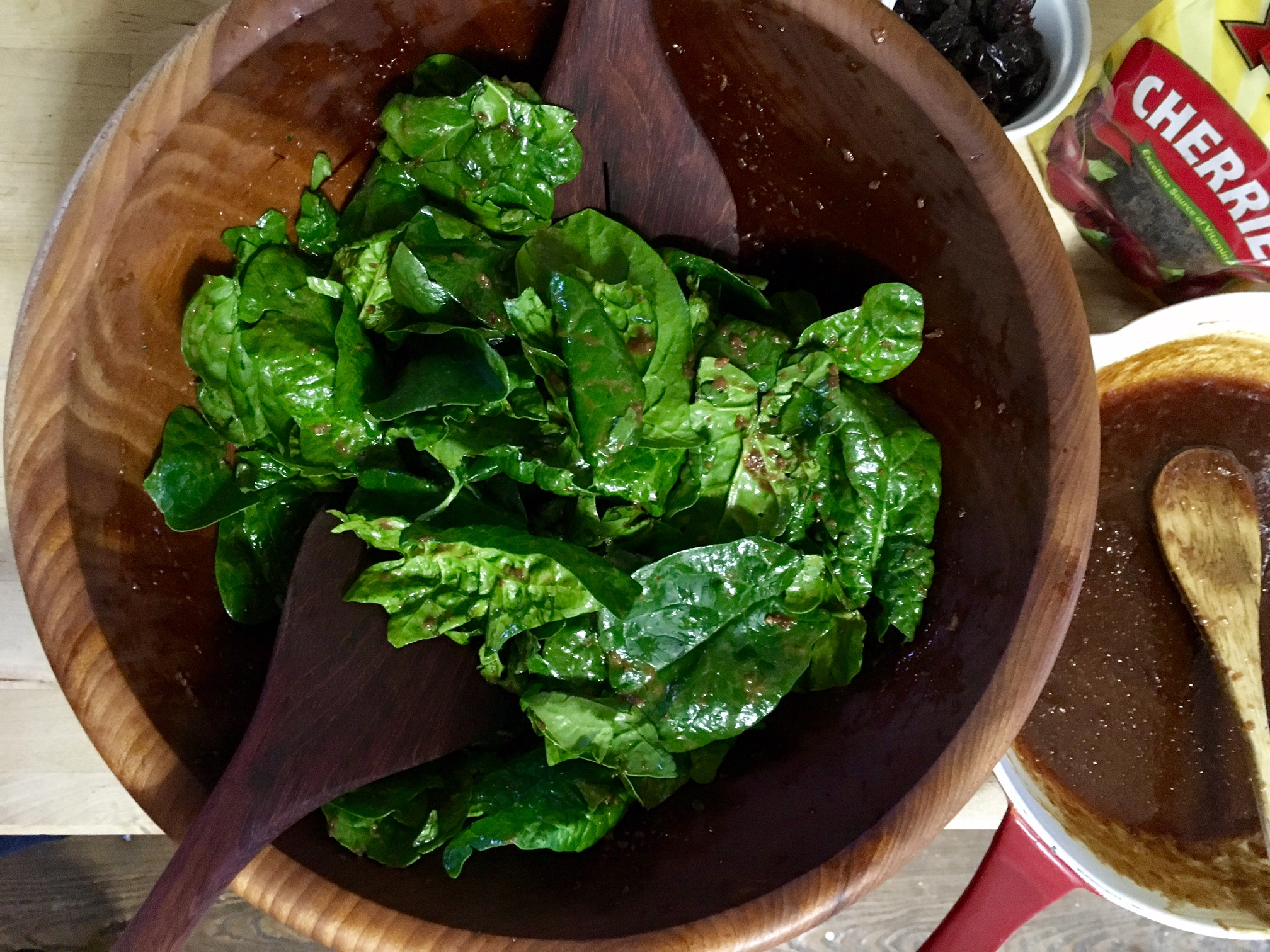 Warmed Cherry Vinaigrette with Wilted Spinach Salad