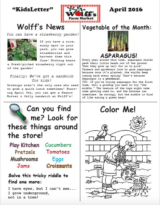 April Kids' Newsletter