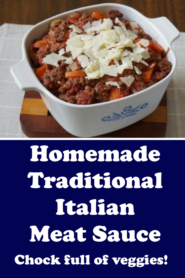 Traditional Italian Meat Sauce with peeled whole tomatoes, garlic, and a dash of white wine.