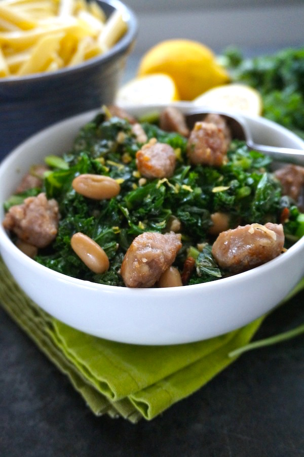 Greens and White Beans with Sausage Pasta