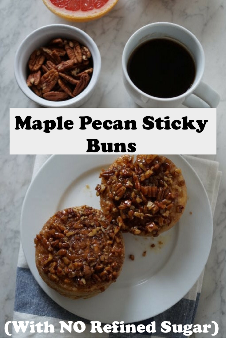 These maple pecan sticky buns are refined sugar free. Perfect low-sugar cinnamon rolls for the holidays