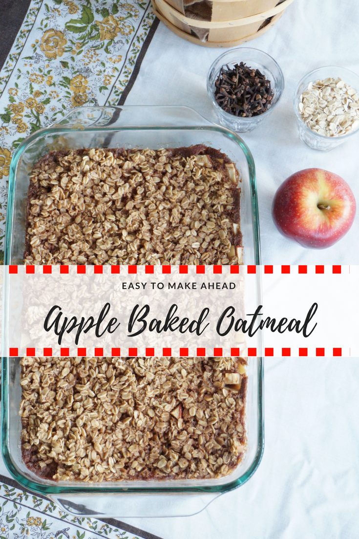 Easy apple baked oatmeal with apple pie spices. Easy to make ahead!