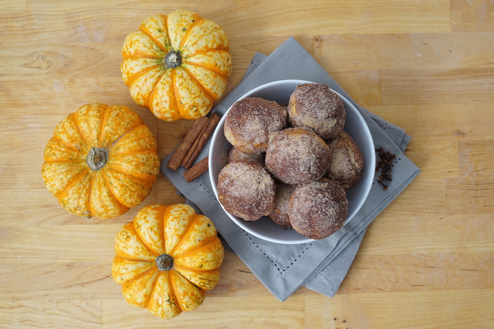 Pumpkin Donut Holes made in a Muffin Tin