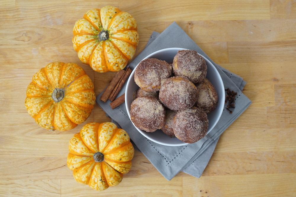 Pumpkin Donut Holes made in a Muffin Tin