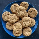 Plate of soft gingersnap cookies made with oatmeal
